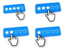 Концепция ранжировки - кнопки сети с курсором руки Стоковая Фотография