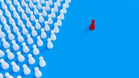 Концепция расизма, задирать, социальной изоляции, депрессии и одиночества Много белые пешки настольной игры, одно красное на свое иллюстрация вектора