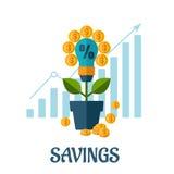 Концепция растущих денег плоская Стоковое Изображение