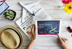 Концепция резервирования полета авиабилета Стоковая Фотография RF