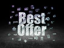 Концепция рекламы: Наилучшее предложение в комнате grunge темной Стоковое Изображение RF
