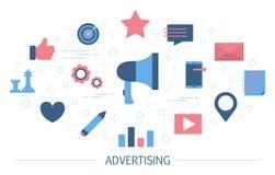 Концепция рекламы продукта Цифров и внешние объявления иллюстрация штока