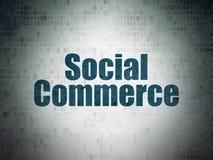 Концепция рекламы: Социальная коммерция на предпосылке бумаги цифровых данных Стоковое Фото