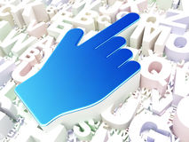 Концепция рекламы: Курсор мыши на предпосылке алфавита Стоковые Изображения