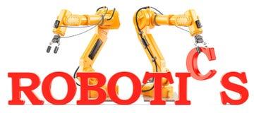 Концепция робототехники с робототехническими оружиями, переводом 3D Стоковая Фотография