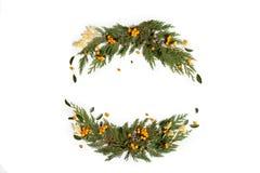 Концепция рождества - венок рамки с вечнозелёным растением Стоковое фото RF
