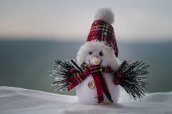 Концепция рождества Нового Года Снеговик стоит на снеге с запачканной предпосылкой природы Белый снеговик окруженный рождественск Стоковое фото RF