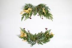 Концепция рождества - обрамите венок с вечнозеленым nootka кипариса Стоковые Изображения