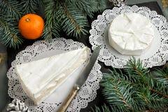 Концепция рождественской открытки Сыры бри и камамбер с благородным wh Стоковое Изображение RF