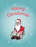 Концепция рождества: Санта используя туалет Стоковые Фото