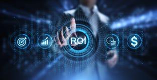 Концепция роста рентабельности инвестиций ROI финансовая с диаграммой, диаграммой и значками стоковая фотография