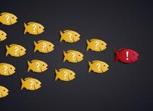 Концепция руководителя группы - образование роя рыб иллюстрация штока