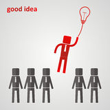 Концепция руководства - руководитель летает к электрической лампочке Стоковое Фото
