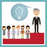 Концепция руководства - руководитель стоит на подиуме Стоковые Изображения