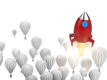 Концепция руководства с красной ракетой иллюстрация штока