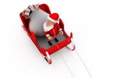концепция саней 3d Санта Клауса Стоковое фото RF