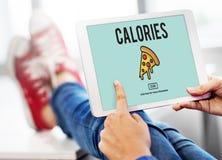 Концепция сала калорий закусок фаст-фуда значка пиццы нездоровая Стоковые Изображения RF