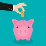 Концепция сбережений денег копилки роста Стоковое Изображение