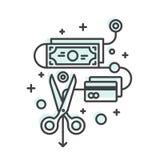 Концепция сбережений и денег, бюджетного сокращения иллюстрация вектора