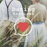 Концепция свидания с незнакомым человеком сердца валентинки обслуживаний датировка Romance стоковое фото rf