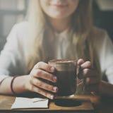Концепция свободного времени питья релаксации кофейни Стоковые Изображения RF