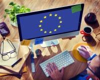 Концепция свободы культуры национальности флага страны Европейского союза Стоковое Фото