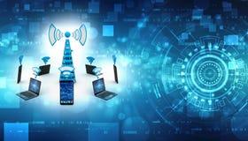 Концепция связи интернета, беспроволочная концепция интернета 3d изолировало представленный видео- белый мир бесплатная иллюстрация
