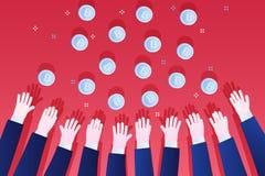 Концепция секретной валюты Достигаемость рук для bitcoin Стоковые Изображения