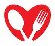 Концепция сердца и еды Стоковая Фотография