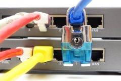 Концепция сети и защиты данных с padlock и переключателем Стоковые Фотографии RF