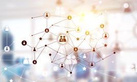 Концепция сети и соединения против современного офиса запачкала предпосылку Стоковые Изображения