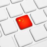 Концепция сети китайского языка или Китая Кнопка национального флага или k Стоковые Изображения RF