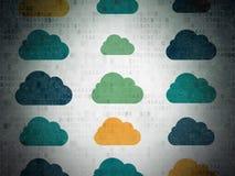 Концепция сети облака: Значки облака на цифров Стоковое Изображение RF