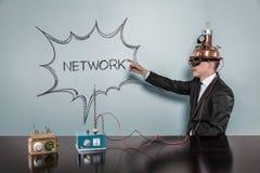 Концепция сети с винтажным бизнесменом стоковая фотография rf