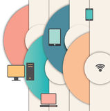 Концепция сети с значками и предпосылкой Стоковое Изображение