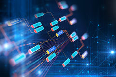 Концепция сети цепи блока на предпосылке технологии Стоковые Изображения RF