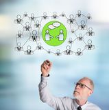 Концепция сети чертежа бизнесмена социальная стоковые фотографии rf