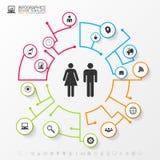 Концепция сети Infographic социальная шаблон дела самомоднейший Стоковое Фото