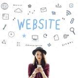Концепция символов значка цифров браузера Веб-страницы Стоковые Изображения