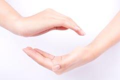 Концепция символов руки пальца соединяет 2 приданных форму чашки руки и может сила быть с вами на белой предпосылке Стоковое фото RF