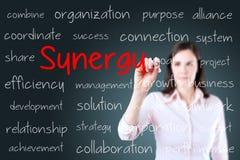 Концепция синергии сочинительства бизнес-леди background card congratulation invitation Стоковые Изображения RF
