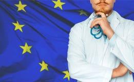 Концепция системы здравоохранения здоровья и медицины национальной в ЕС стоковые изображения rf