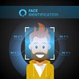 Концепция системы распознавания Biometrical технологии контроля допуска мужской скеннирования идентификации стороны современная иллюстрация вектора