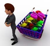 концепция скидки и тележки покупок человека 3d Стоковое Изображение