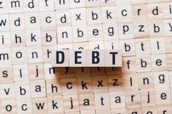 Концепция слова задолженности стоковые фото