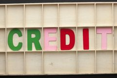 Концепция слова кредита стоковое изображение