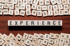 Концепция слова опыта на кубах стоковые фото