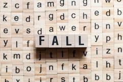 Концепция слова падения стоковая фотография rf