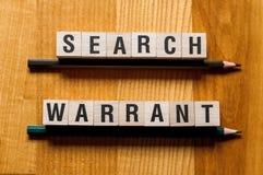 Концепция слов ордера на обыск стоковые изображения