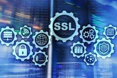Концепция слоя безопасных гнезд SSL Криптографические протоколы обеспечивают обеспеченные сообщения Предпосылка комнаты сервера иллюстрация штока